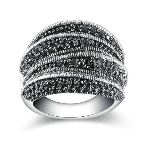 Black Marcasite Blink Ring