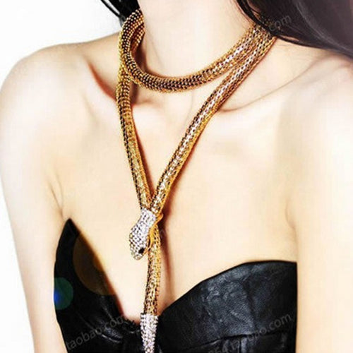 Collier Femme Jewelry Full Rhinestone Austria Accessories  gold silver Crystal Snake long Pendant Necklace