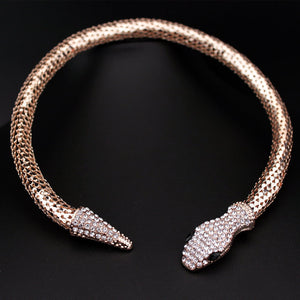Classic Punk Jewelry Gold/Silver Plated Crystal Snake Shape Necklace Rhinestone Collar Necklace Statement For Women
