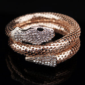 Classic Punk Jewelry Gold/Silver Plated Crystal Snake Shape Bracelet Rhinestone For Women