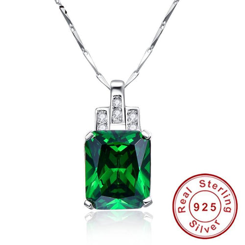 High Quality Emerald Necklace Jewelry 6.95ct Pendant Necklace Vintage Silver 925 Sterling chain