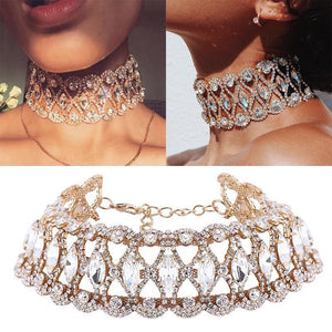 Full Big Rhinestone choker Crystal statement necklace Women Chockers Chunky Necklace Collier Wedding jewellery