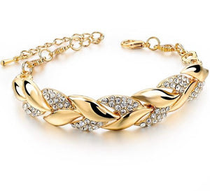Braided Gold color Leaf Bracelets & Bangles With Stones Luxury Crystal Bracelets For Women Wedding Jewelry