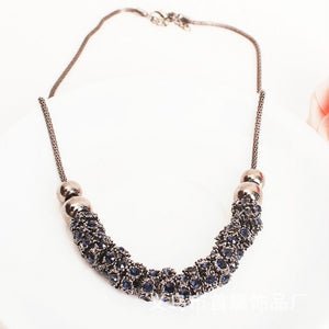 Collar Gun Black Round Multi Parts Blue Full Crystal Necklace
