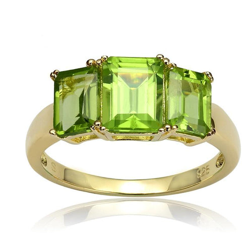 2.50ct Rectangular Octagonal Manchurian Peridot 18k Gold Over Silver Ring