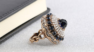 Hot 2018 Luxury Big Natural Stone Ring Vintage Crystal Antique Rings For Women Turkish Jewelry