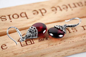 Retro 925 Sterling Silver Round Garnet Drop Earrings for women Fine Jewelry