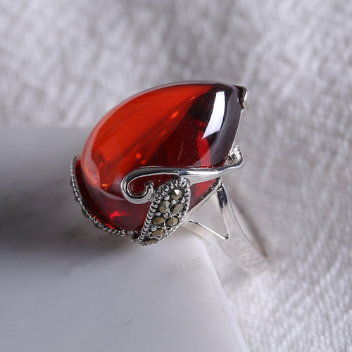 Ring 925 Silver Natural Red Garnet Gemstone Rings for women Heartstone Ruby Opal Wedding Rings