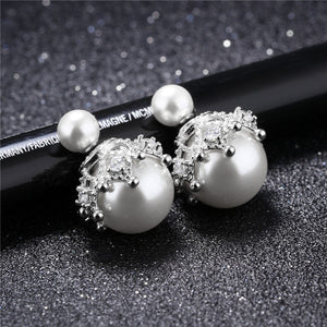 Elegant Austrian Crystal Bijouterie with Big Pearl White Color for Women Jewelry Earrings