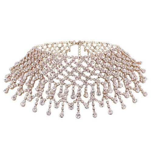 Rhinestone Chain Choker Necklace For Women Elegant Full Crystal Tassel Choker Collar Fashion Bridal Jewelry