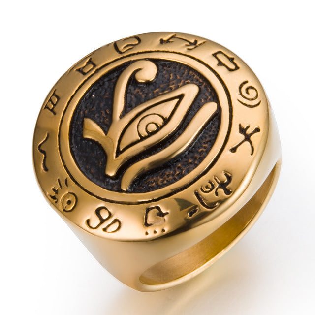 Eye of Horus Talisman Stainless Steel punk Ring
