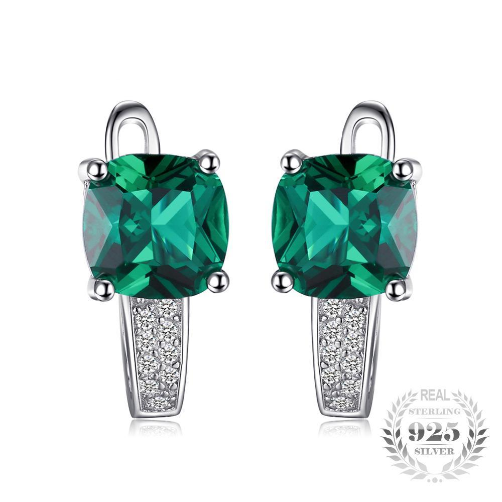 Cushion 3.1ct Created Green Emerald Clip Earrings 100% Real 925 Sterling Silver Charms