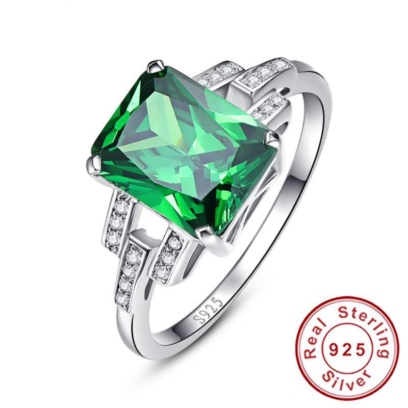 Classic 10.75ct Nano Russian Emerald Ring Emerald Cut Solid 925 Sterling Silver Ring Set Best Brand