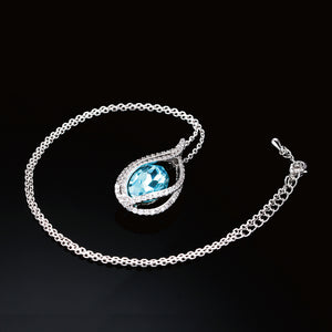 Unique Cubic Zirconia Big Blue Crystal Necklace & Pendants Silver Color Elegant Wedding Jewelry For Women
