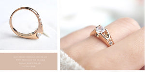 Top quality Austria Crystals wedding Rings for women Rose Gold color Engagement Rings