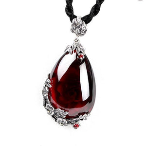 Retro Royal Garnet Gemstone 100% 925 Sterling Silver Natural Chalcedony Pendant Necklace Female Fine Jewelry