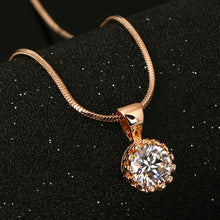 Crown Cubic Zirconia Necklaces & Pendants Silver/Rose Gold Color Snake Chain
