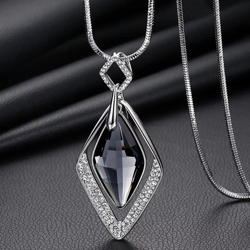 Collier Femme Geometric Statement Colar Maxi Fashion Crystal Jewelry Rhombus 2018