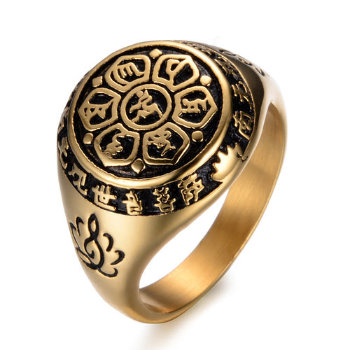 Stainless steel Rings For Women Female Six Words Budda Mantra Signet Rings