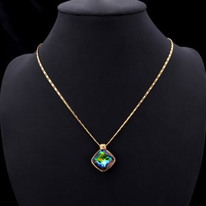 Green Crystal Charm Necklace & Pendant Yellow Gold Color Synthetic Emerald