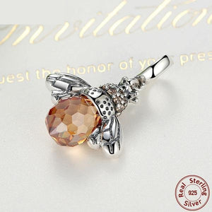 925 Sterling Silver Orange Wing Animal Bee Pendant Only