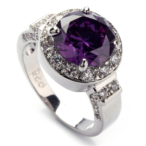 Purple Rainbow Cubic Zirconia Rhodium Plated