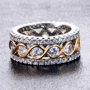 Full Crystal Big Wedding Rings For Women Romantic Gold Color Ring