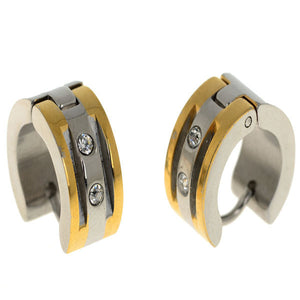 Rihanna Punk Stainless Steel Crystal Earrings Gold Silver 316L Stainless Steel Hoop Earrings Huggie Unisex