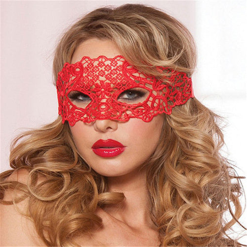 Sexy Babydoll Porn Lingerie Sexy Black/White/Red Hollow Lace Mask Erotic