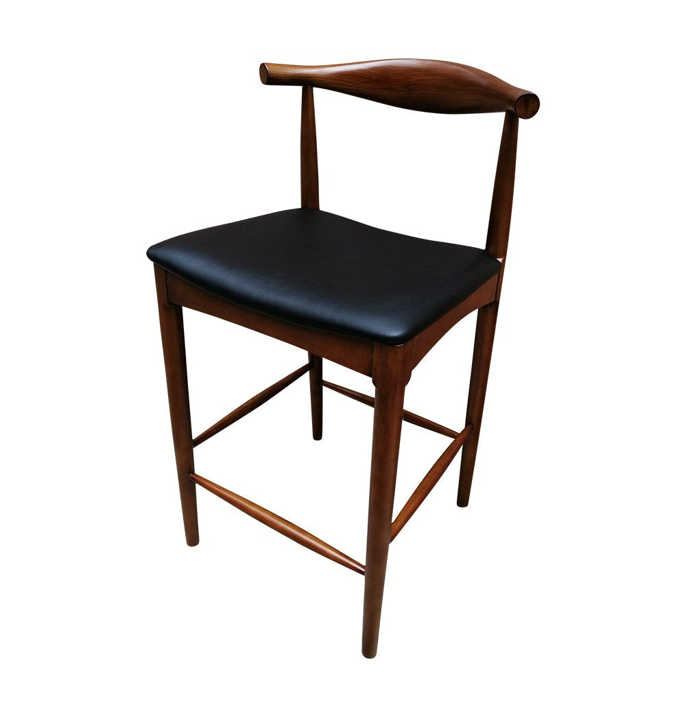 CH20 Elbow Counter Stool - Walnut & Black Seat - Reproduction