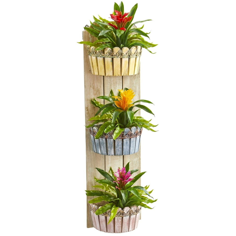 "39"" Bromeliad Artificial Plant in Three-Tiered Wall Decor Planter"