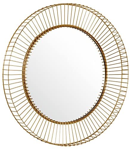 Vileh Round Gold Metal Hanging Wall Mirror