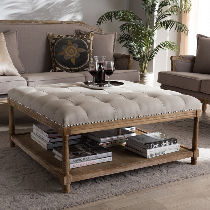 French Country Square Coffee Table Ottoman - RoomsandDecor.com