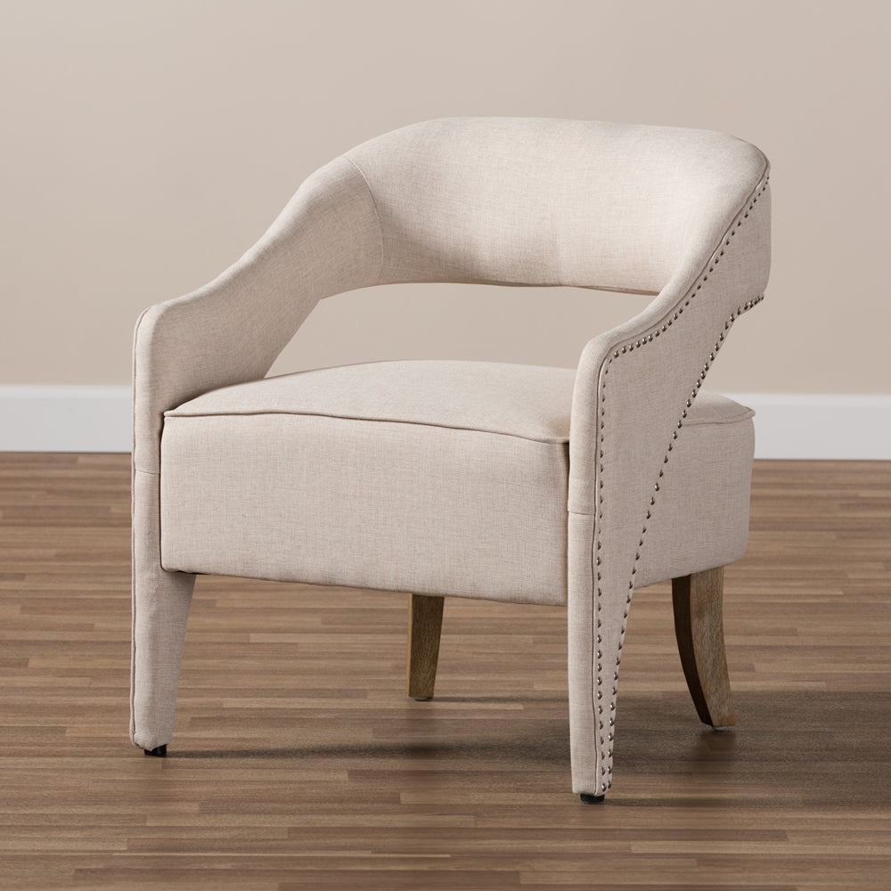 Marsalla Beige Fabric Upholstered Lounge Chair - RoomsandDecor.com
