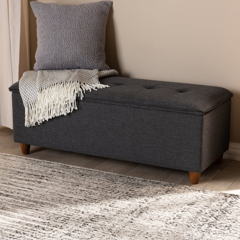Hayden Grey Tufted Storage Ottoman Bench - RoomsandDecor.com
