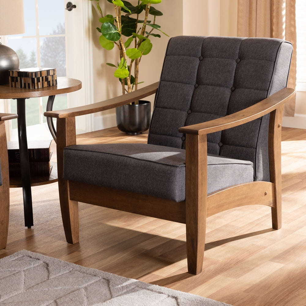 Luarel Wood Lounge Armchair - RoomsandDecor.com