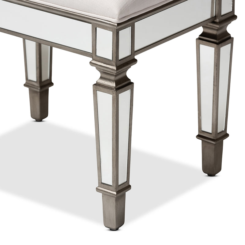 Hollywood Mirrored Vanity Bench Ottoman - RoomsandDecor.com