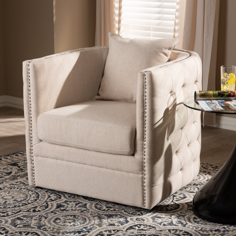 Dorian Beige Tufted Swivel Chair - RoomsandDecor.com