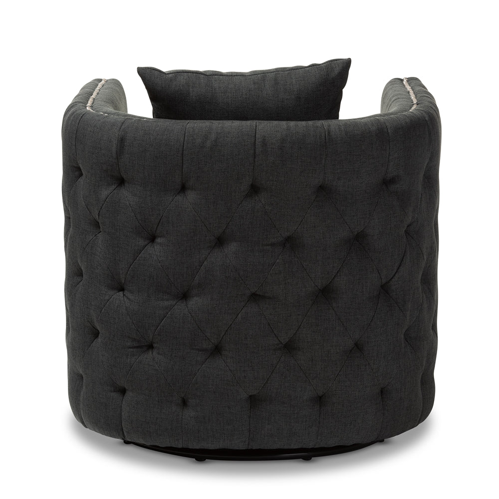 Dorian Grey Tufted Swivel Chair - RoomsandDecor.com