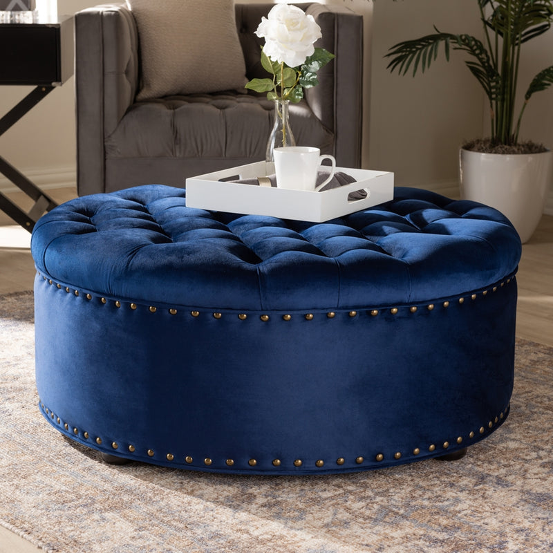 Daine Royal Blue Round Ottoman - RoomsandDecor.com