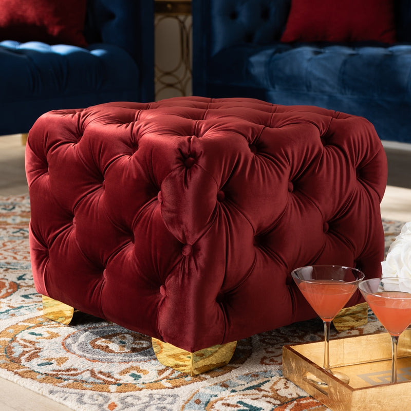 Artemis Burgundy Small Tufted Ottoman - RoomsandDecor.com