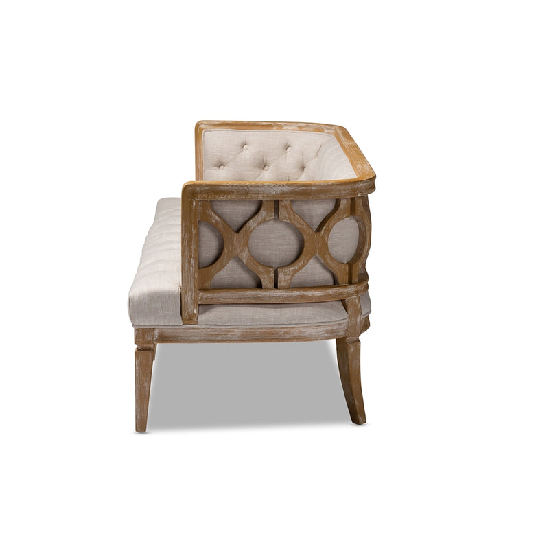 Rolins White-Washed Oak Wood Sofa - RoomsandDecor.com