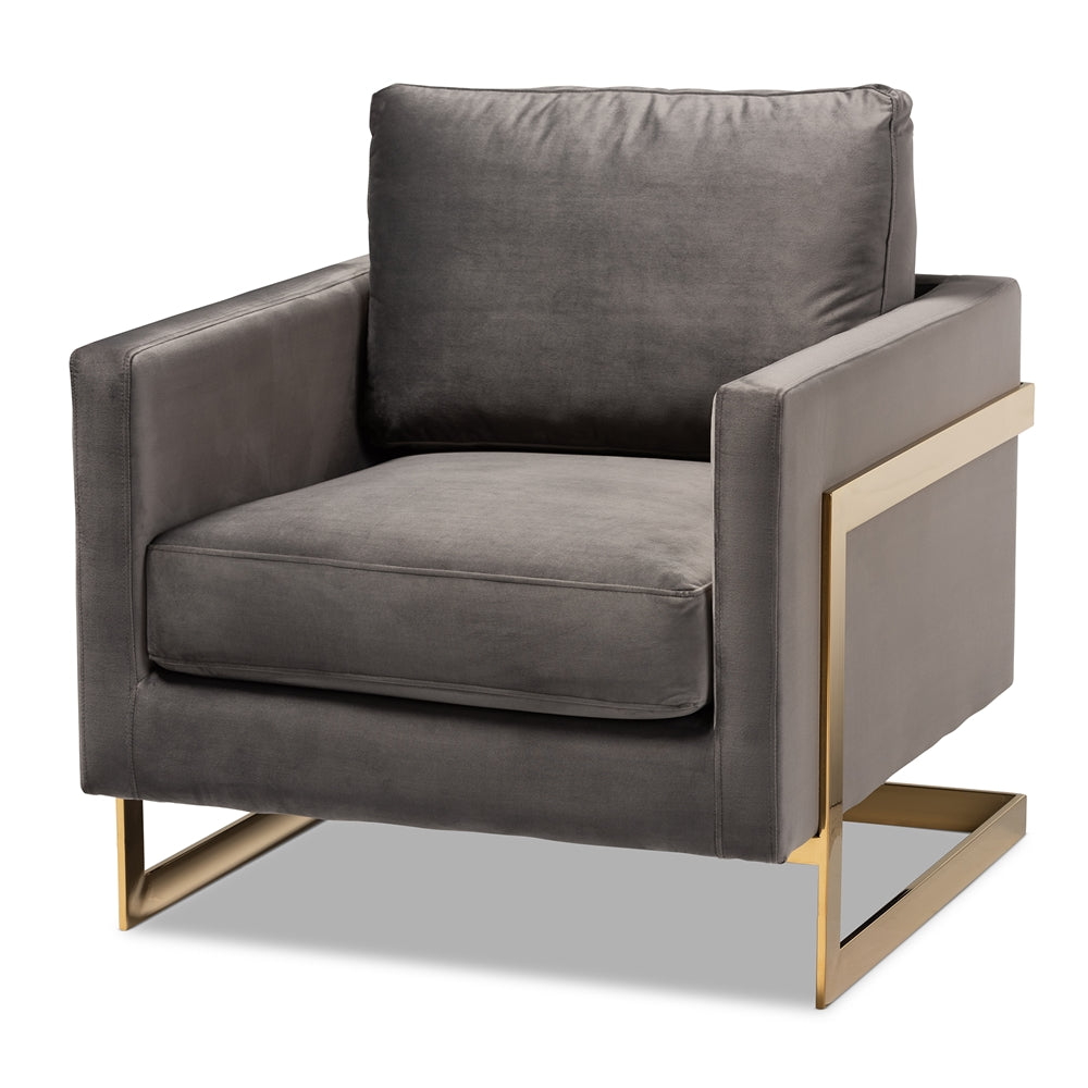 Minoh Grey Velvet Armchair - RoomsandDecor.com