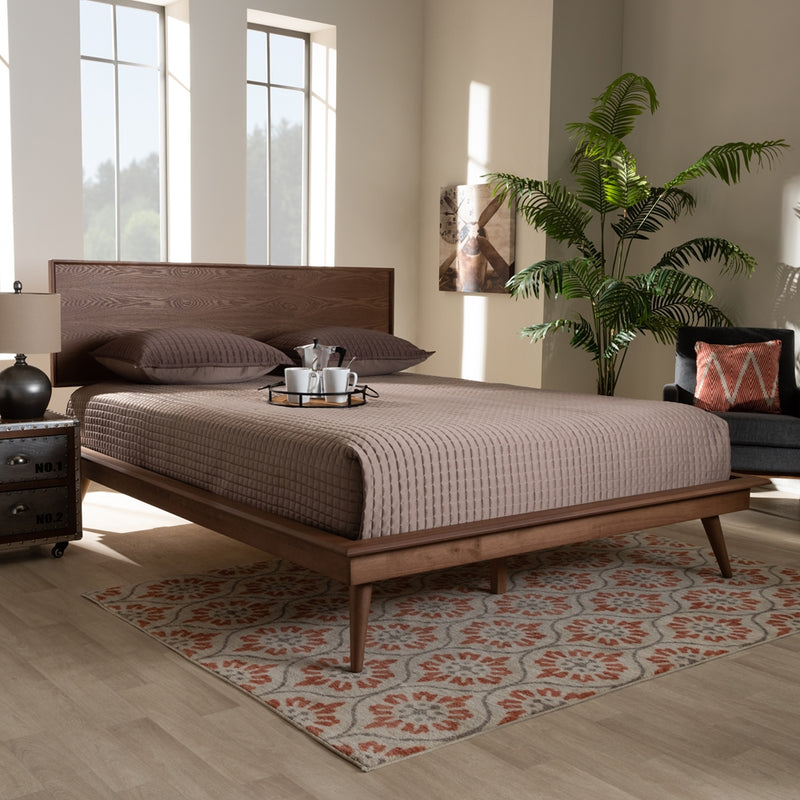 Mid-century Modern Solid Wood Platform Bed - Queen