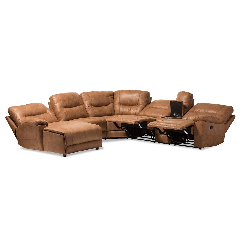 Mistral Palomino Suede 6-Piece Sectional - RoomsandDecor.com