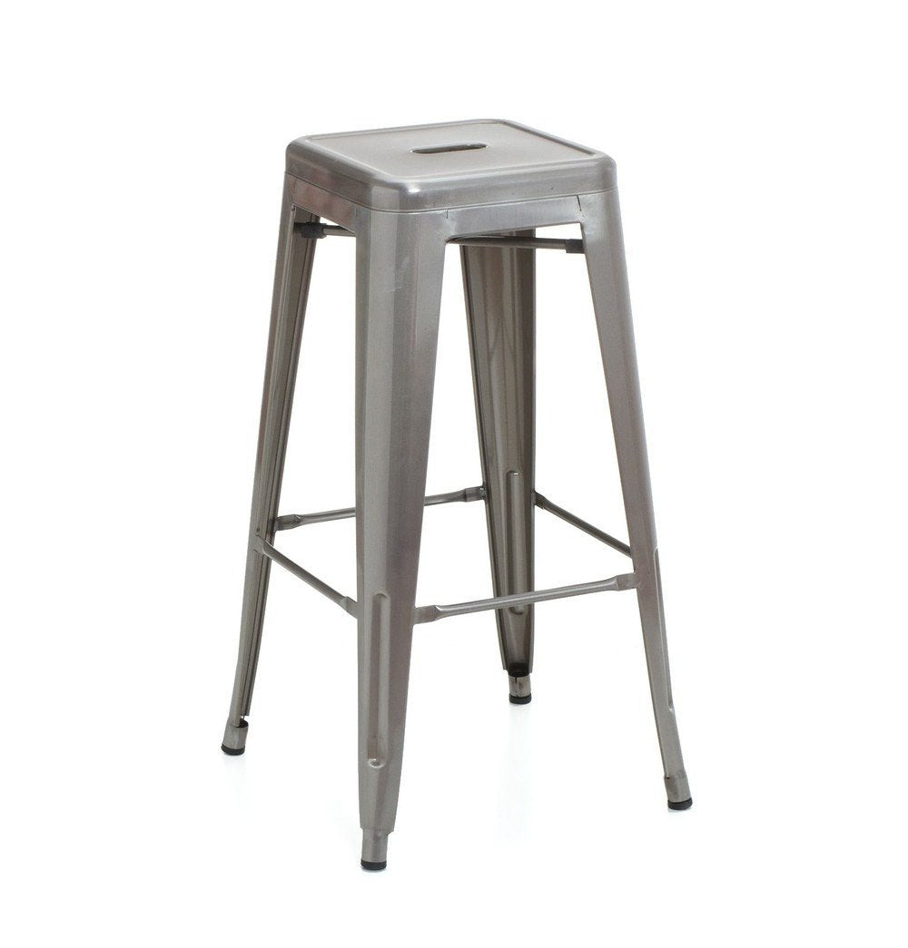 Tolix Style Counter Stool 66cm - Brushed Transparent - Reproduction