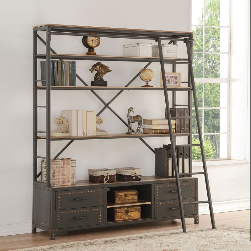 "Sandy Grey Etagere Bookcase with Ladder - 64"" - RoomsandDecor.com"