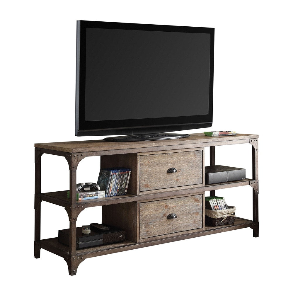 60 Inches TV Stand, Weathered Oak & Antique Silver - RoomsandDecor.com