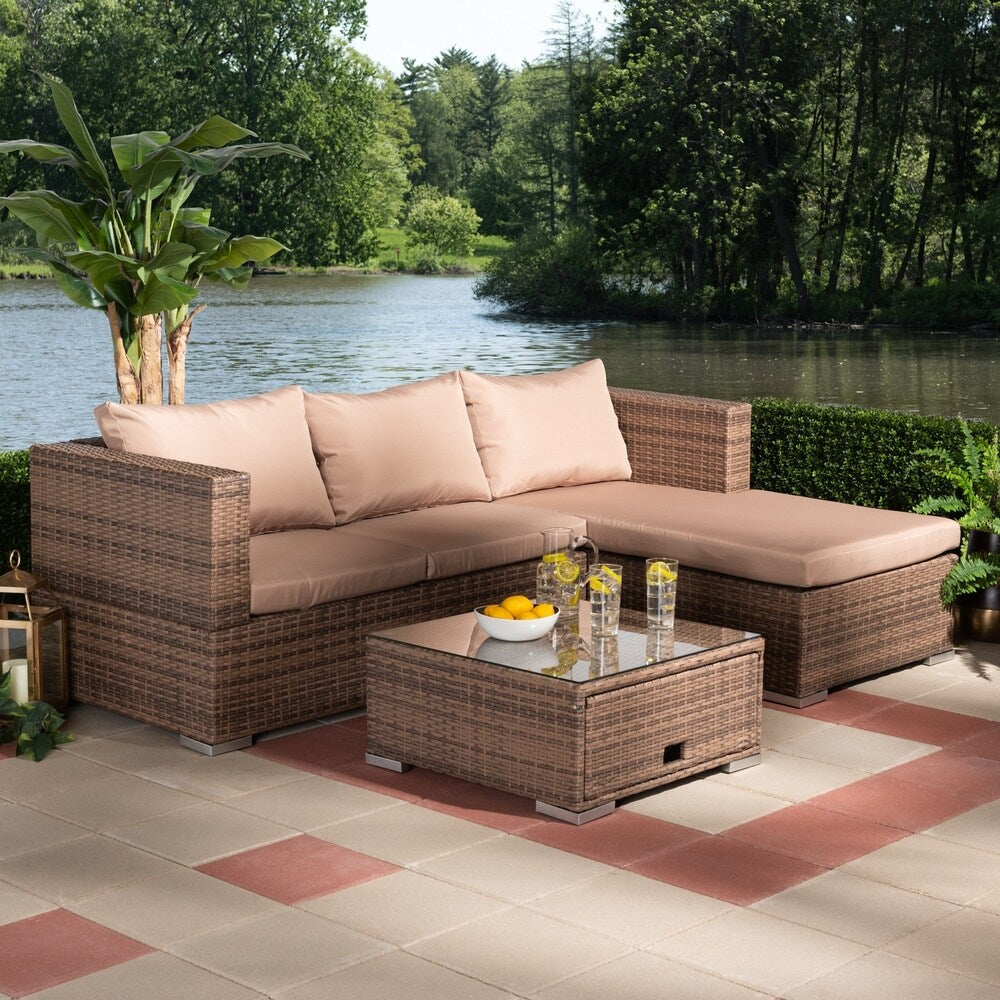 Addison Modern and Contemporary 3-Piece Outdoor Sectional Set