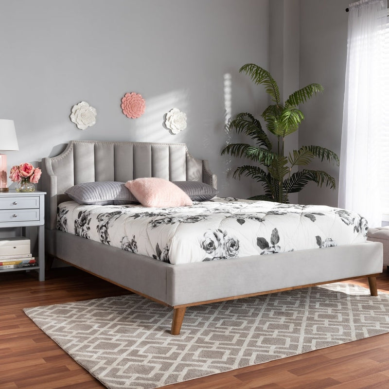 Adelie Modern Glam Upholstered Wingback Queen Platform Bed - RoomsandDecor.com
